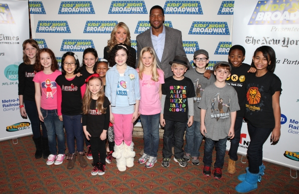 Kelly Ripa & Michael Stahan with Lilla Crawford and young cast members from 'Annie',  Photo