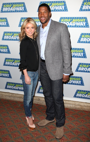 Kelly Ripa & Michael Stahan attending the Kids' Night on Broadway ticket launch with  Photo