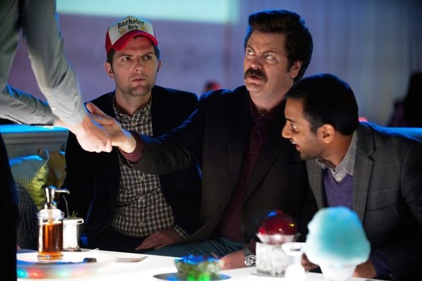 Adam Scott, Nick Offerman, Aziz Ansari  at PARKS AND RECREATION's 'Two Parties,' Feat. Newt Gingrich