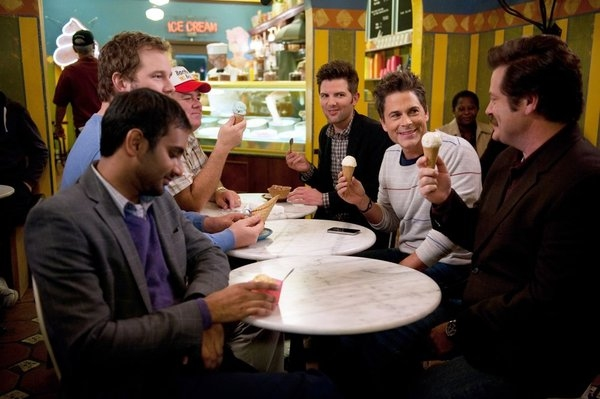 Aziz Ansari, Chris Pratt, Jim O'Heir, Adam Scott, Rob Lowe, Nick Offerman at PARKS AND RECREATION's 'Two Parties,' Feat. Newt Gingrich