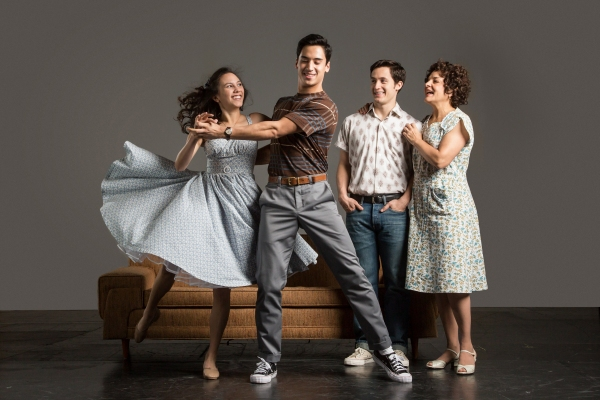 ebecca (Michelle Cabinian) dances with her brother Alejandro (Michael Rosen) as their brother Francisco (Eddie Gutierrez) and mother Inez (Priscilla Lopez)  look on.