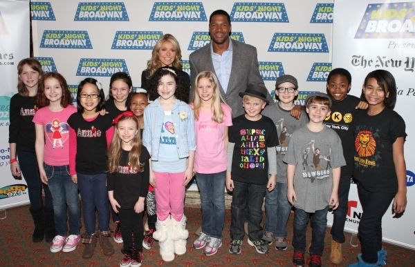 Kelly Ripa & Michael Strahan with Lilla Crawford and young cast members from 'Annie', Photo