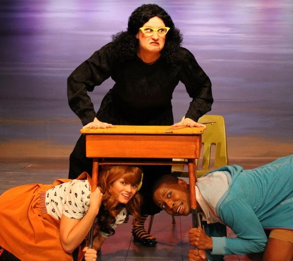Viola Swamp (Katie Harrison) and her terrified students (Jessica Knapp and Chioke Cor Photo