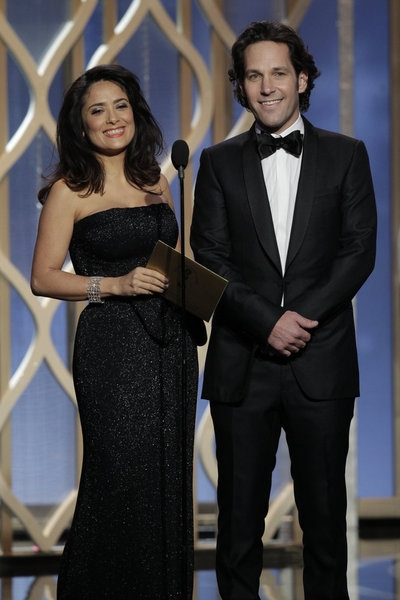 70th ANNUAL GOLDEN GLOBE AWARDS -- Pictured: (l-r) Presenters Salma Hayek, Paul Rudd on stage during the 70th Annual Golden Globe Awards held at the Beverly Hilton Hotel on January 13, 2013 -- (Photo By: Paul Drinkwater/NBC) at Stars of LES MIS,HOMELAND & More Take the Stage of the 70th Annual Golden Globe Awards