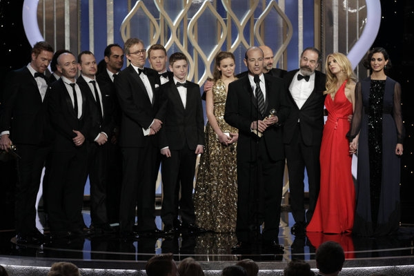 "70th ANNUAL GOLDEN GLOBE AWARDS -- Pictured: Winner, Best TV Series, Drama, ""Homeland"", Howard Gordon, Executive Producer on stage during the 70th Annual Golden Globe Awards held at the Beverly Hilton Hotel on January 13, 2013 -- (Photo By: Paul Drinkwate"