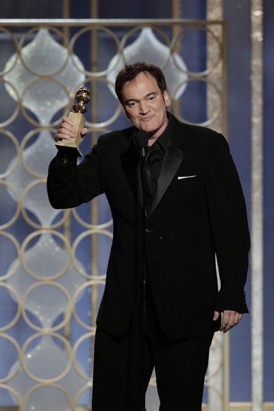 "70th ANNUAL GOLDEN GLOBE AWARDS -- Pictured: Winner, Quentin Tarantino, Best Screenplay - Motion Picture, ""Django Unchained"" on stage during the 70th Annual Golden Globe Awards held at the Beverly Hilton Hotel on January 13, 2013 -- (Photo By: Paul Drinkw"