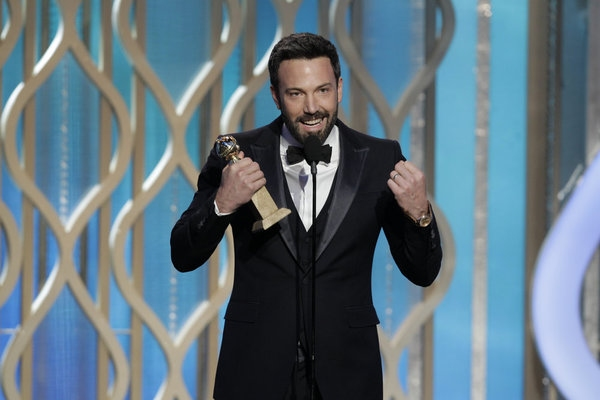 70th ANNUAL GOLDEN GLOBE AWARDS -- Pictured: Winner, Ben Affleck, Best Director - Motion Picture, 'Argo' on stage during the 70th Annual Golden Globe Awards held at the Beverly Hilton Hotel on January 13, 2013 -- (Photo By: Paul Drinkwater/NBC) at Stars of LES MIS,HOMELAND & More Take the Stage of the 70th Annual Golden Globe Awards