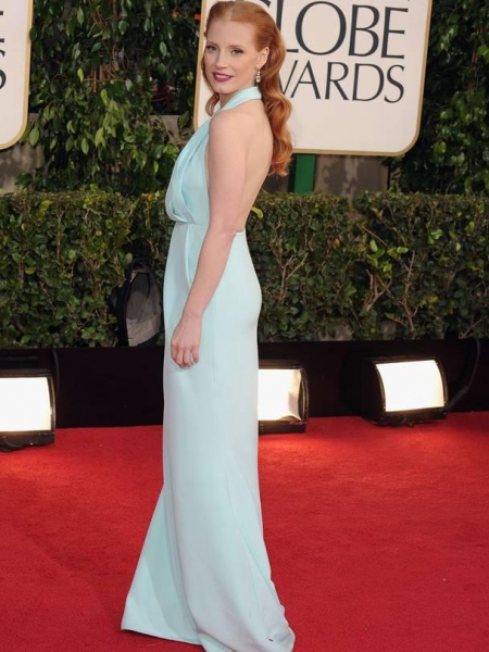 Jessica Chastain at More Stars at the Golden Globe Red Carpet