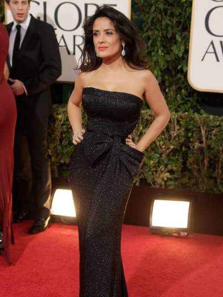 Salma Hayek at More Stars at the Golden Globe Red Carpet