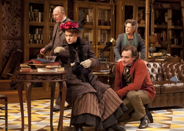 Charlotte Parry as Eliza Doolittle and Robert Sean Leonard as Henry Higgins with Paxton Whitehead as Colonel Pickering and Deborah Taylor as Mrs. Pearce