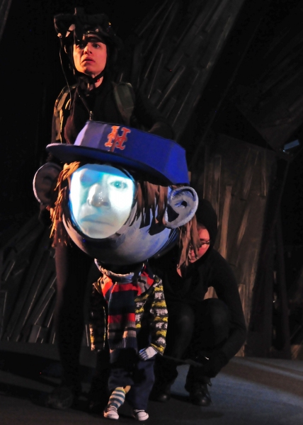 Caroline Tamas and Claire Moodey puppeting the Big Headed Toddler