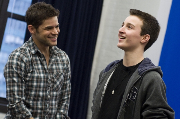 Jeremy Jordan and Student at Jeremy Jordan Teaches Musical Theatre Intensive for Broadway Workshop