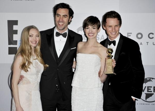 Amanda Seyfried, Sacha Baron Cohen, Anne Hathaway & Eddie Redmayne.  Photo