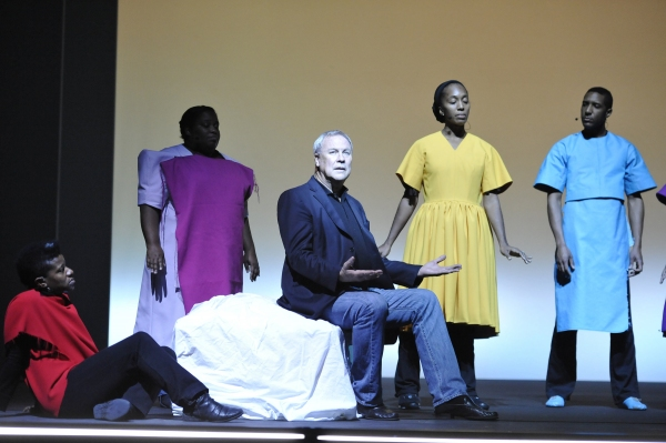 (l-r) Jennifer Nikki Kidwell, Josette Newsam-Marchak, Director Robert Wilson, Francesca Harper, and Cornelius Betha rehearsing a scene from the world premiere of Zinnias - The Life of Clementine Hunter, directed by Robert Wilson - On Wednesday, 1/16/13. P