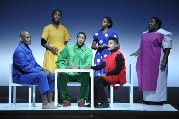 (l-r) Charles E. Wallace, Francesca Harper, Cornelius Betha, Carla Duren, Jennifer Nikki Kidwell, and Josette Newsam-Marchak rehearsing a scene from the world premiere of Zinnias - The Life of Clementine Hunter, directed by Robert Wilson - On Wednesday, 1