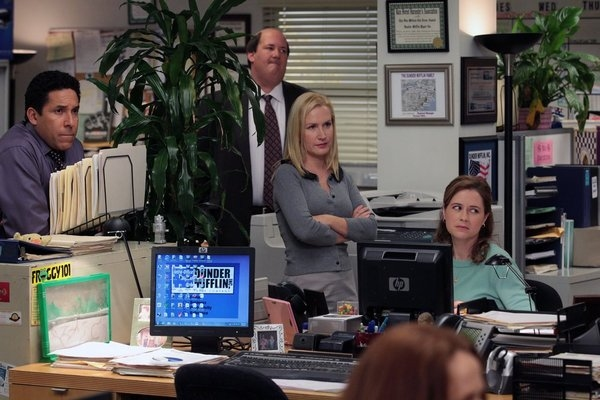 Oscar Nunez, Brian Baumgartner, Angela Kinsey, Jenna Fischer at THE OFFICE's 'Junior Salesman,' Airing 1/31