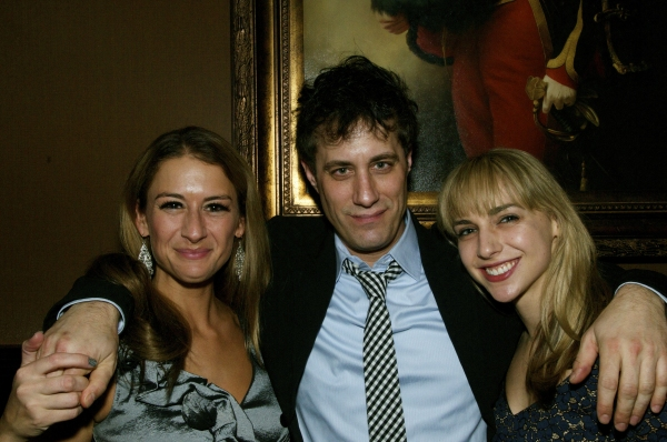 Actresses Deborah Rayne (left) and Nicole Balsam (right) with their Spirits of Exit Eleven producer Justin Reinsilber (center)