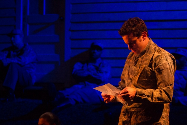 Photo Credit: Tristan Fuge. Photo Caption (foreground) Matt Dellapina and (background, L to R) Brent Langdon, David Ryan Smith, and Alex Ubokudom in a scene from Mat Smart�s play THE STEADFAST, presented Off-Broadway by Steve Alpert and Ken