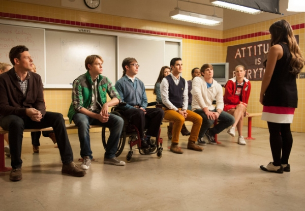 Cory Monteith, Chord Overstreet, Kevin McHale, Darren Criss, Melissa Benoist, Blake Jenner, Alex Newell and Heather Morris at First Look at GLEE's 'Sadie Hawkins' Episode
