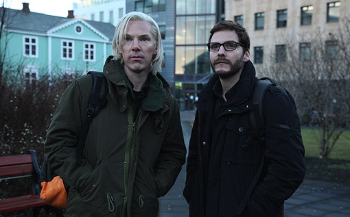 Benedict Cumberbatch, Daniel Brühl at Benedict Cumberbatch as Julian Assange in THE FIFTH ESTATE