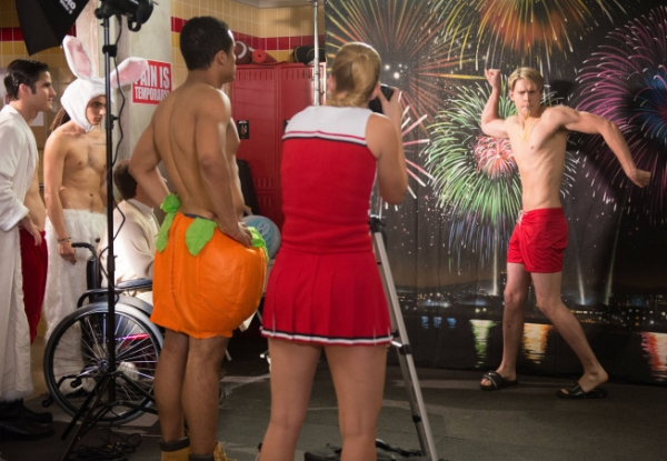 Darren Criss, Samuel Larsen, Kevin McHale, Jacob Artist, Heather Morris, Chord Overstreet. at First Look at GLEE's 'Naked' Episode