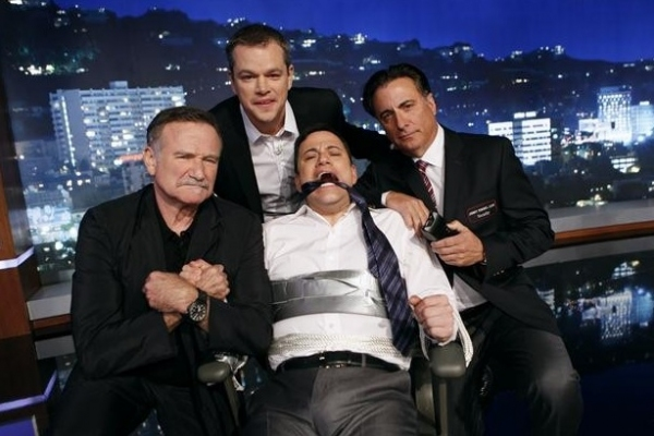 Robin Williams, Matt Damon, Jimmy Kimmel, Andy Garcia at Matt Damon & Friends Hijack JIMMY KIMMEL LIVE