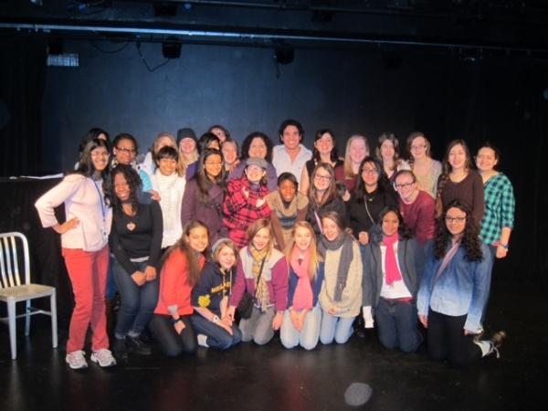 Fulmore Middle School girls' choir with Adam Jacobs, Jacque Carnahan, Barbara Anselmi and their teacher, Yvette Carol
