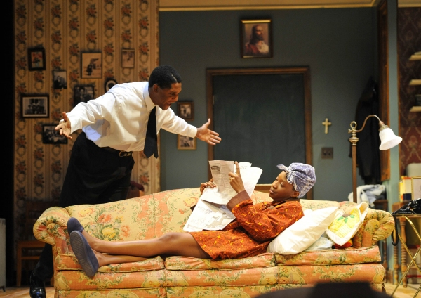 MIKALL SULAIMAN as Walter Lee Younger and MIRIAM HYMAN as Beneatha Younger. Photo