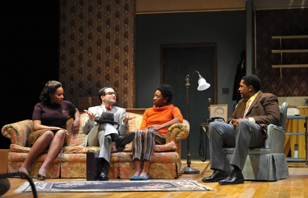 DEE DEE BATTEAST as Ruth Younger, MATT GARNER as Karl Lindner, MIRIAM HYMAN as Beneatha Younger, and MIKAAL SULAIMAN as Walter Lee Younger.
