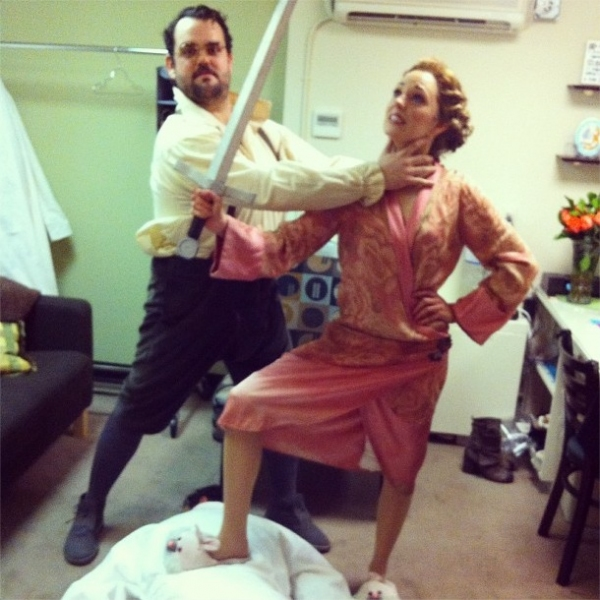 Photo Flash: Saturday Intermission Pics, Jan 26, Part 2 - CINDERELLA's First SIP, EVITA's Saucy 'End' Credit and More!
