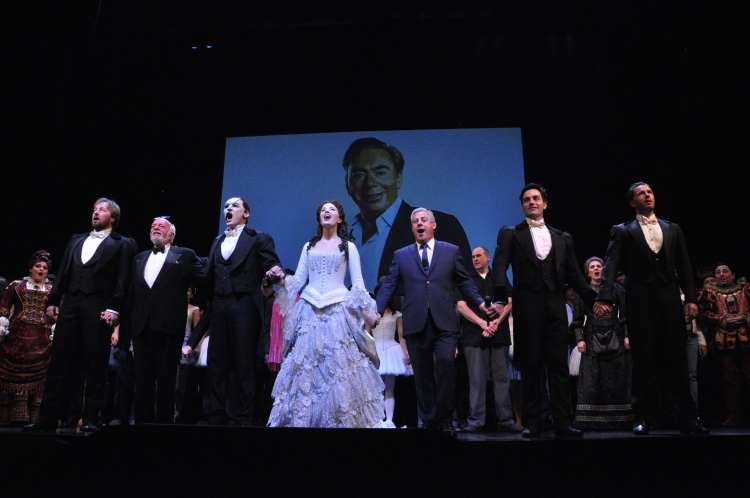 High Res John Owen Jones, Hal Prince, Hugh Panaro, Sierra Boggess, Cameron Mackintosh, Ramin Karimloo and Peter Joback