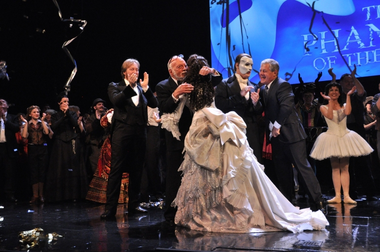 High Res John Owen Jones, Hal Prince, Sierra Boggess, Hugh Panaro and Cameron Mackintosh