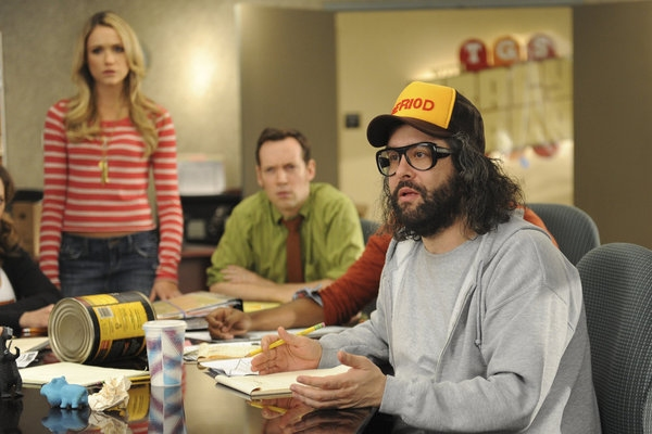 "30 ROCK -- ""Part 1: Hogcock! Part 2: Last Lunch"" Episode 712/713 -- Pictured: (l-r) Katrina Bowden as Cerie, Judah Friedlander as Frank -- (Photo by: Ali Goldstein/NBC)"