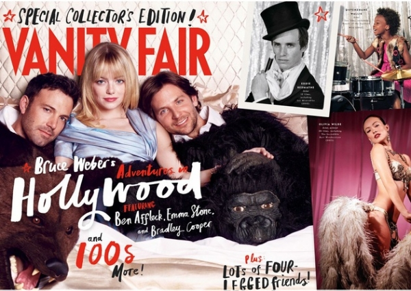 Ben Affleck, Emma Stone, Bradley Cooper, Eddie Redmayne, Quvenzhané Wallis, and Olivia Wilde at First Look - Vanity Fair's 2013 HOLLYWOOD ISSUE COVER