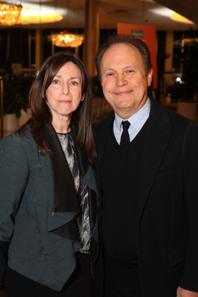 "From left, Janice Crystal and actor Billy Crystal pose during a reception for a staged reading of ""Enter Laughing, The Musical"" to benefit Center Theatre Group at the Mark Taper Forum on Monday, January 28, 2013 in Los Angeles, Calif. (Photo by Ryan Mille"