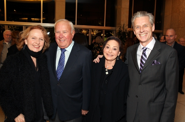 """From left, actress Kate Burton, Tom Beckmen, Judy Beckmen and CTG Artistic Director Michael Ritchie pose during a reception for a staged reading of """"Enter Laughing, The Musical"""" to benefit Center Theatre Group at the Mark Taper Forum on Monday, January 28"""