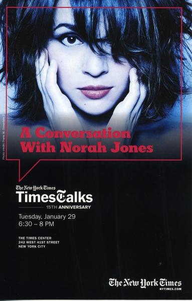 TimesTalks Conversation with Nora Jones & Jon Pareles