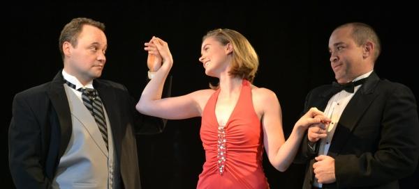 Dion Kapakos (Rhett Martinez) and theatre critic Parker Ballentine (John Mitsakis) vie for the attention of Angela Ballentine (Courtney McManus).