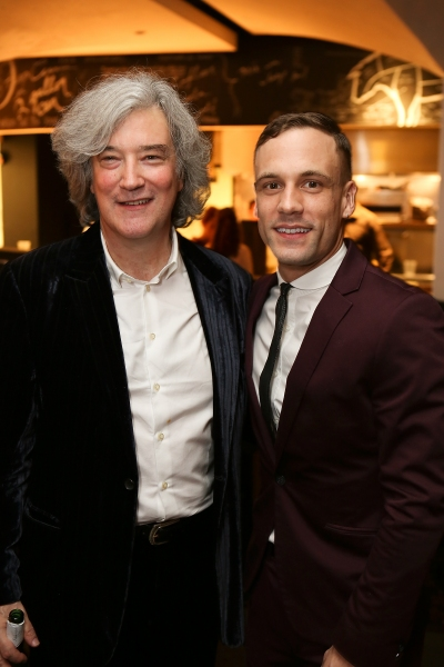 "From left, ""Backbeat"" Producer Karl Sydow and cast member Nick Blood (plays Stuart Sutcliffe) pose during the party for the opening night performance of ""Backbeat"" at the Center Theatre Group/Ahmanson Theatre on Wednesday, January 30, 2013 in Los Angeles,"