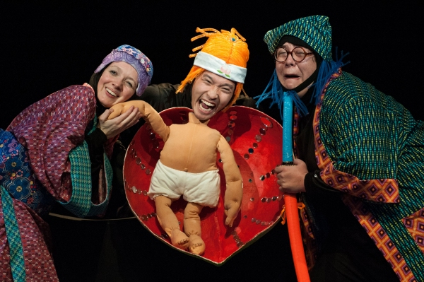 Tia Shearer as Old Woman, Jacob Yeh as Momotaro, and Phillip Reid as Old Man