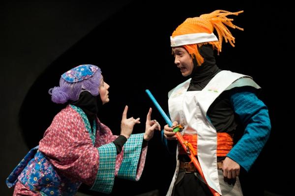 Tia Shearer as Old Woman and Jacob Yeh as Momotaro Photo