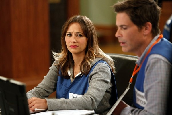 Rashida Jones, Rob Lowe at PARKS AND RECREATION's 'Emergency Response'