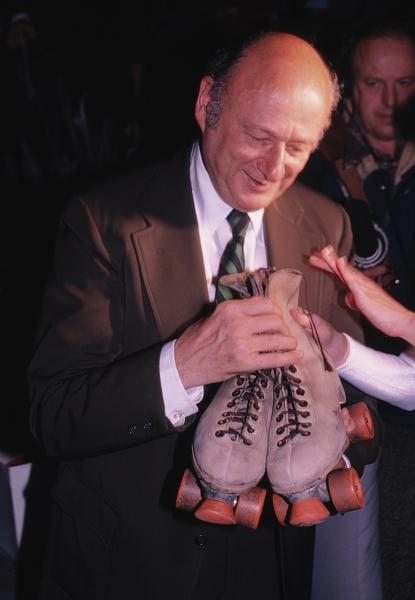 Ed Koch with Roller Skates in New York City. 1981
