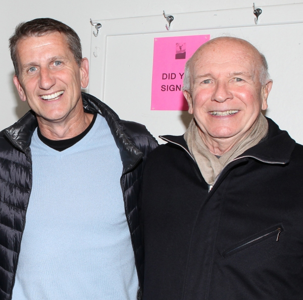 Terrence McNally with his husband Tom Kirdahy at Backstage at FIORELLO! with Former Congressman Barney Frank