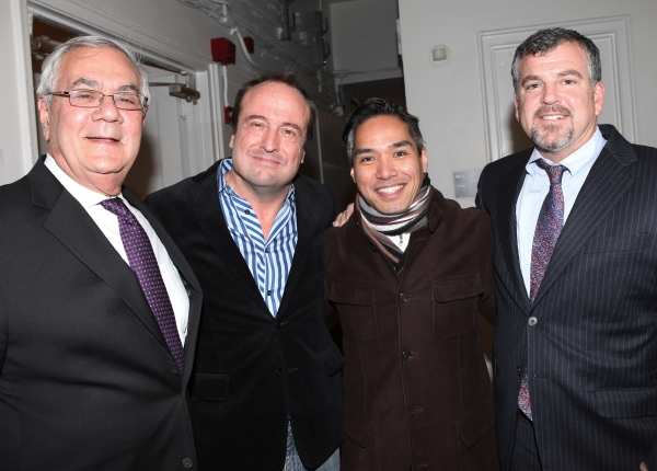 Barney Frank with husband Jim Ready & Director Gary Griffin with his partner at Backstage at FIORELLO! with Former Congressman Barney Frank