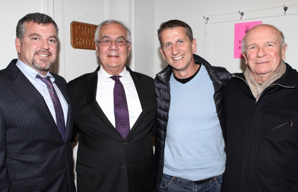 Terrence McNally with his husband Tom Kirdahy with Barney Frank with husband Jim Ready at Backstage at FIORELLO! with Former Congressman Barney Frank