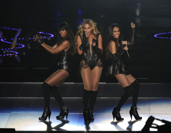 Kelly Rowland, Beyonce Knowles and Michelle Williams performing at the Super Bowl XLV Photo