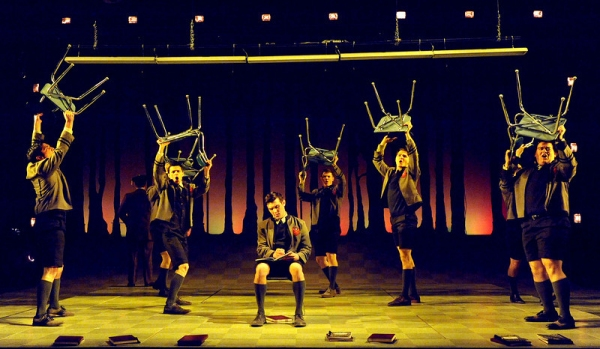 Melchior (Matthew Kacergis) and the cast of Olney Theater Center's production of SPRING AWAKENING