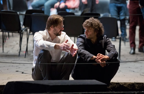 Baritone Peter Mattei, who sings Amfortas, and Jonas Kaufmann, who sings Parsifal, during a rehearsal break.