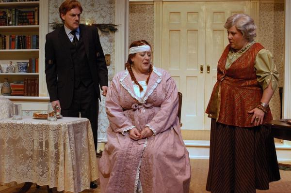 Pictured L-R: Steven Cole Hughes (Charles), Boni McIntyre (Edith) and Leslie O'Carroll (Madame Arcati)